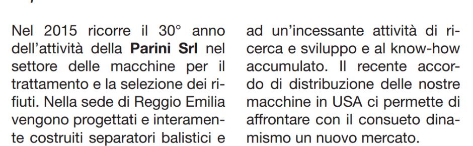 """Parini srl on the newspaper """"Il Sole 24 Ore"""""""