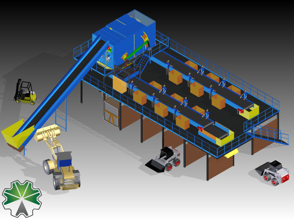 semi-automatic waste sorting plant